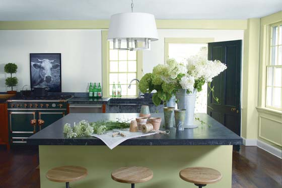 Benjamin Moore kitchen with a large island in the middle