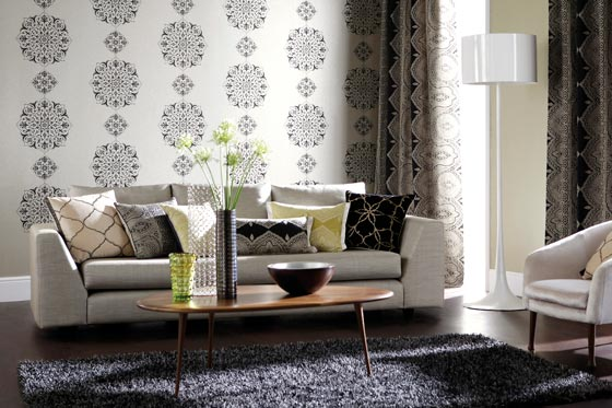 A bright living room with pattenred wallpaper